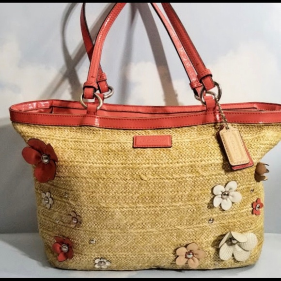 Coach Handbags - Coach Woven and Patent Leather Carryall